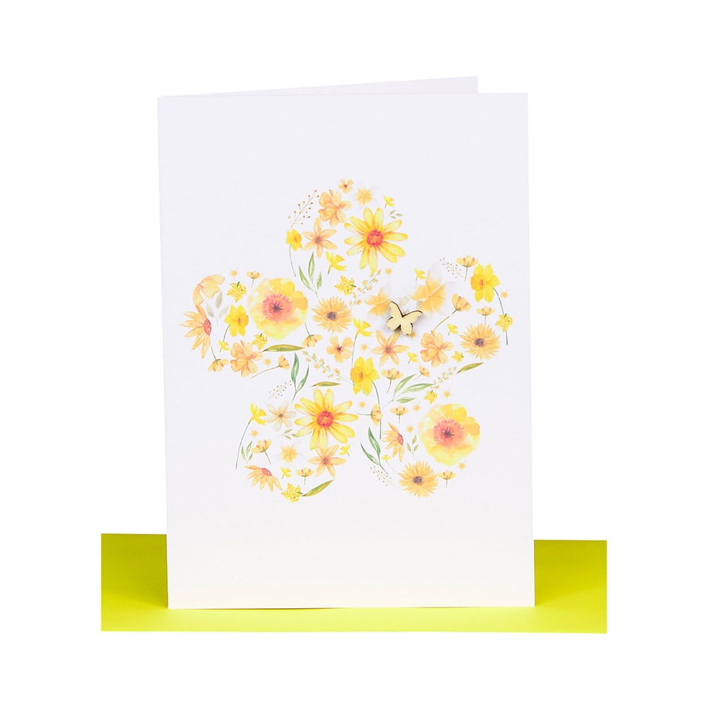Lil's Cards - Blank greeting card - Yellow flower