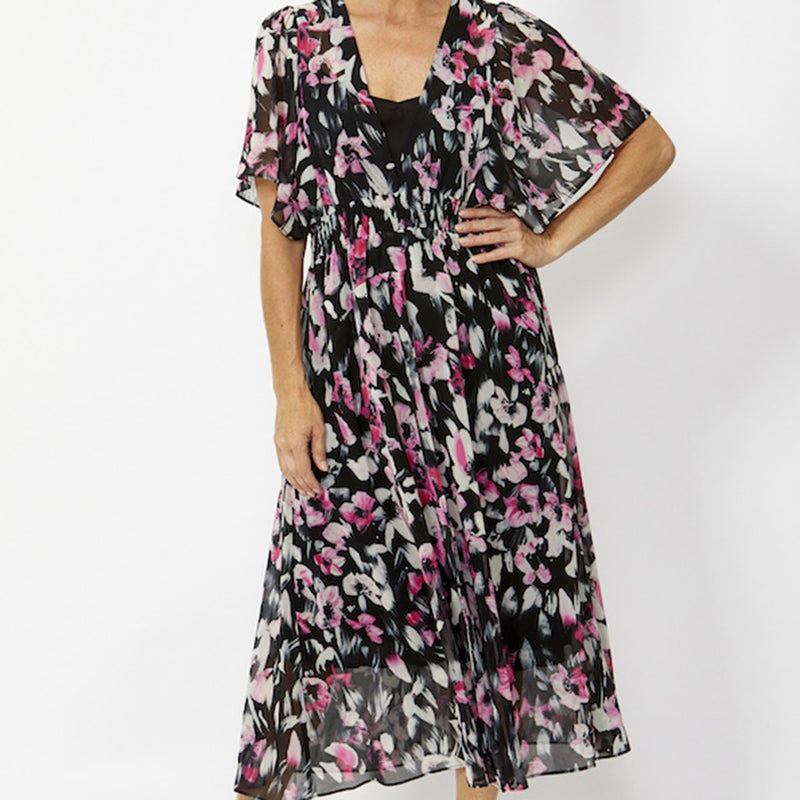 Ping Pong - Shirred waist dress - Painterly floral