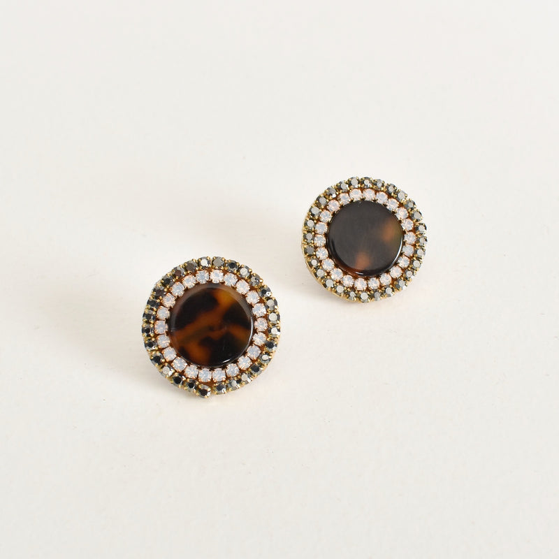 Adorne - Diamante edged stud earrings - Tortoise/Crystal