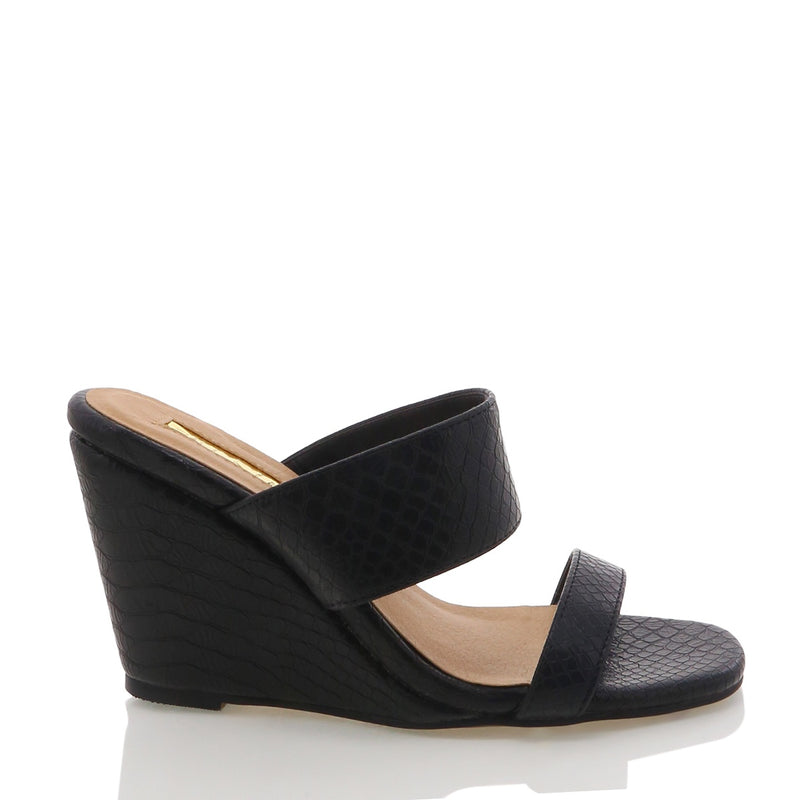 Billini - Tully wedge - Black reptile