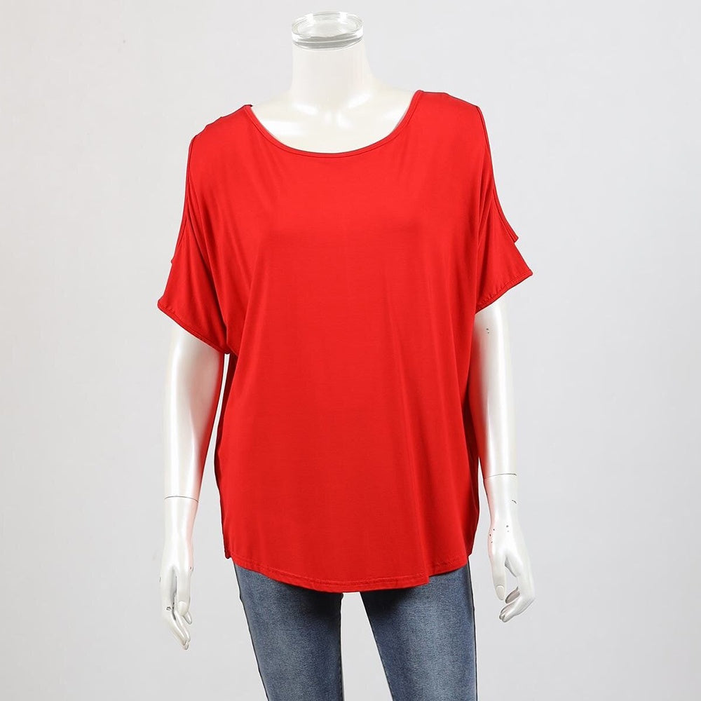 Bamboo by Whispers - Cold shoulder top - Red