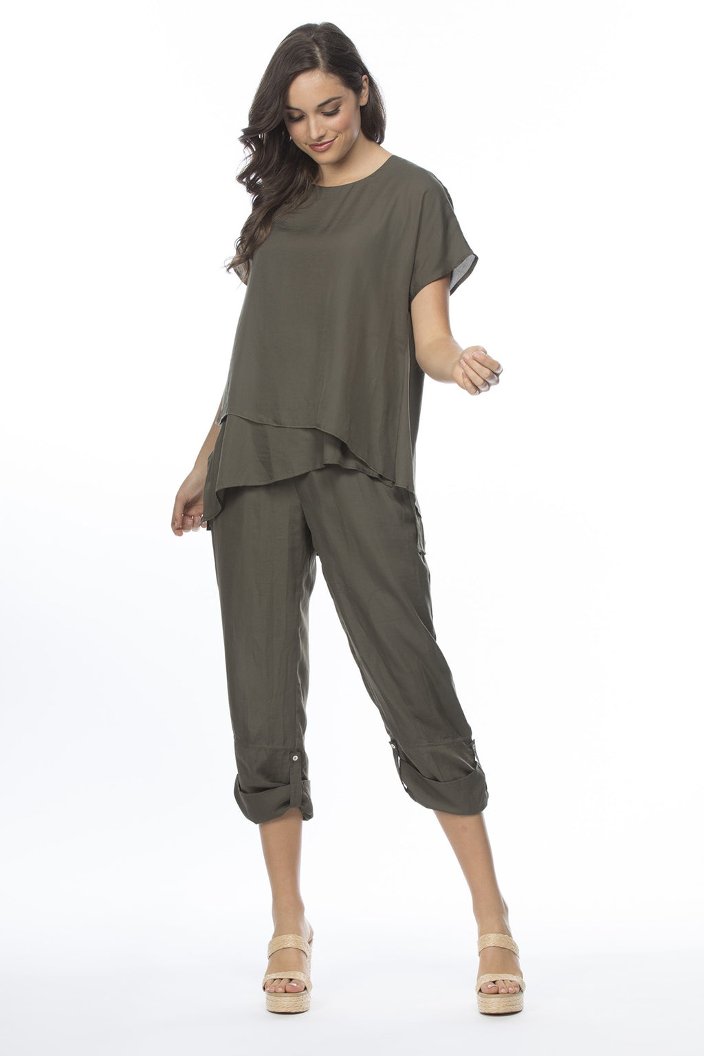 Threadz - Luxe side tab pants - Khaki