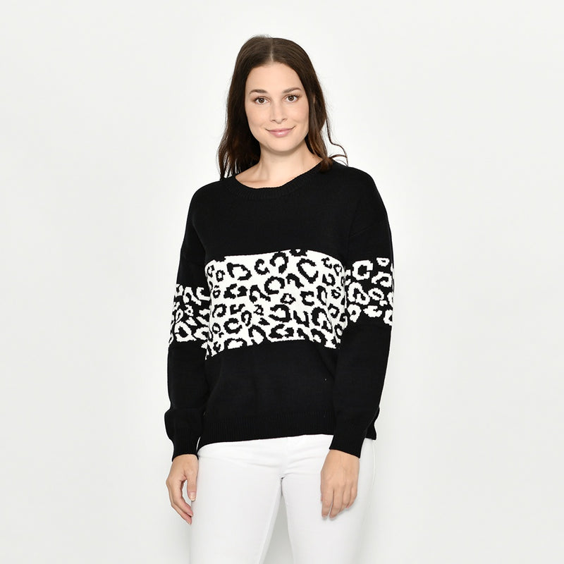 Cali & Co - Animal print panel knit jumper - Black