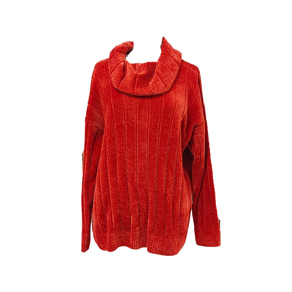 Ping Pong - Cowl neck chenille pullover - Tabasco