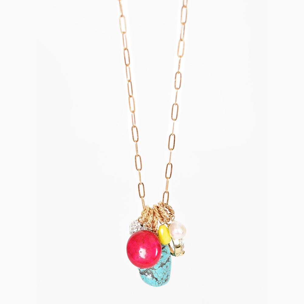 Adorne - Stone cluster drop long necklace - Multi
