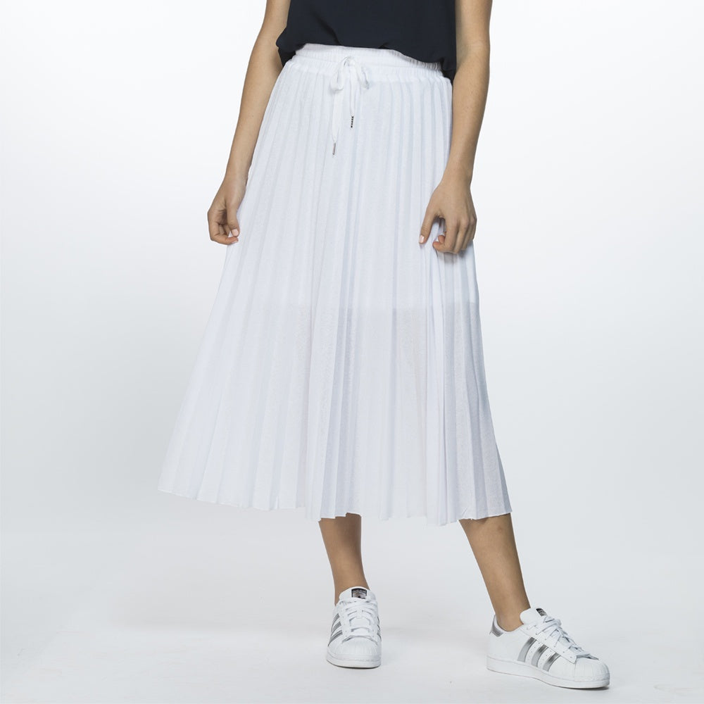 Threadz - Mesh pleat skirt - White