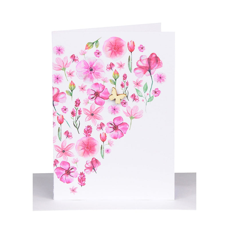 Lil's Cards - Blank small greeting card - Pink flower heart