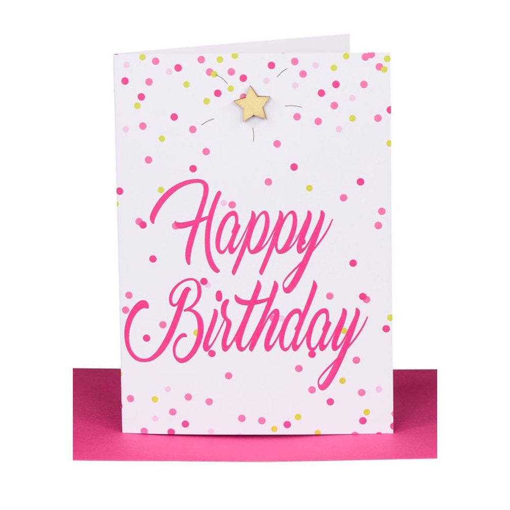 "Lil's Cards - ""Happy Birthday"" greeting card - Pink confetti"
