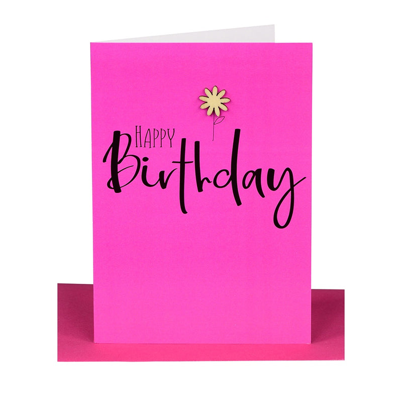 "Lil's Cards - ""Happy Birthday"" greeting card - Hot pink"