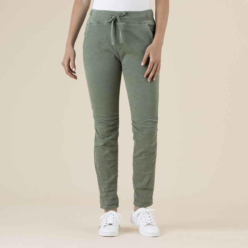 Threadz - Tie front gathered jeans- Khaki