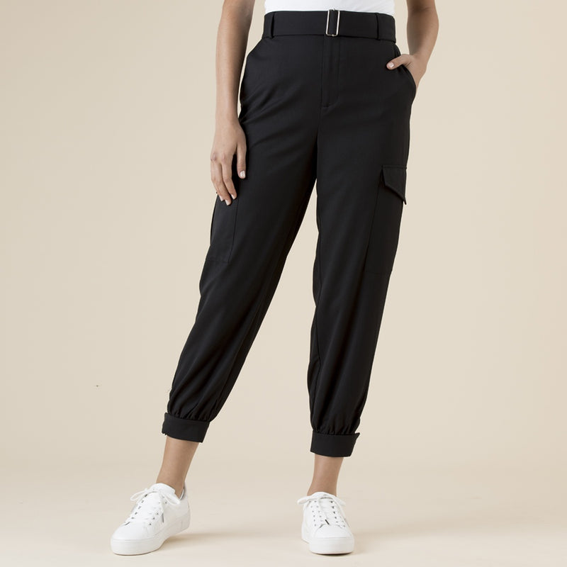 Clarity by Threadz - Belted cargo pants - Black