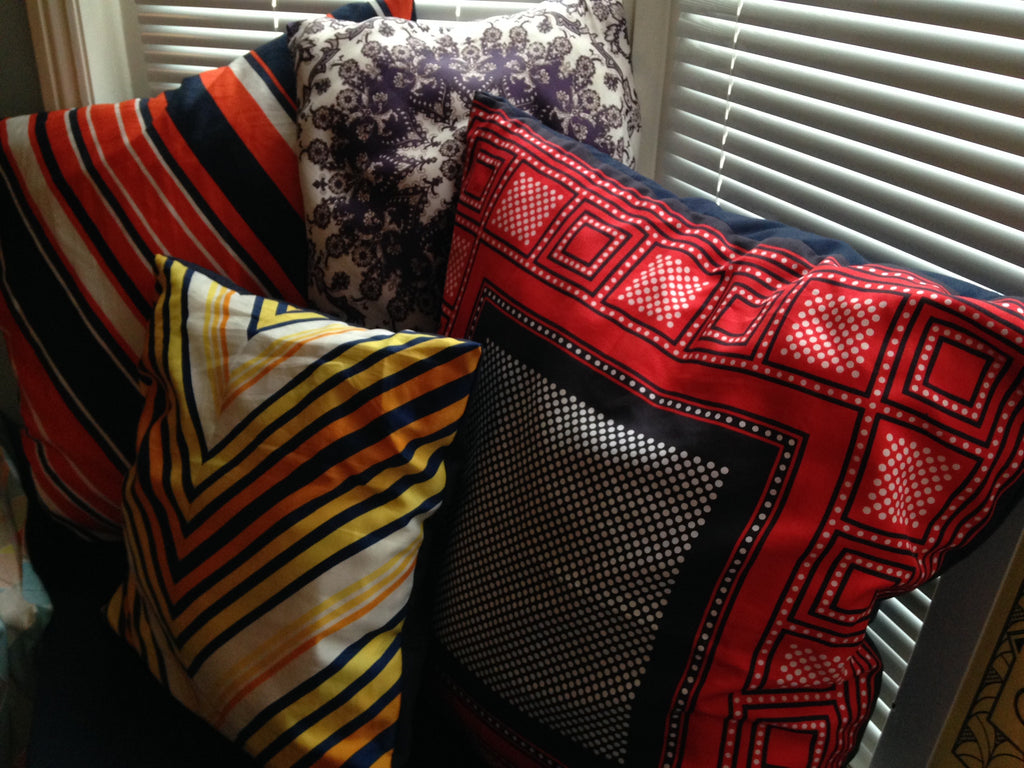 Beautiful Vintage Scarf Cushions