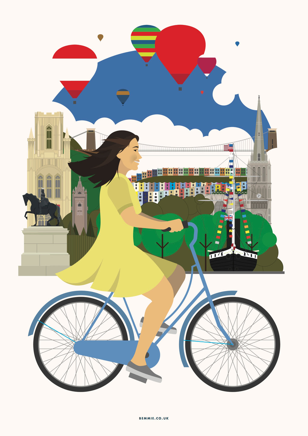 Bristol Female Cycling Print - BemmiesBazaar