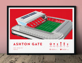 Football stadium ground print art poster Bristol City BCFC Ashton Gate