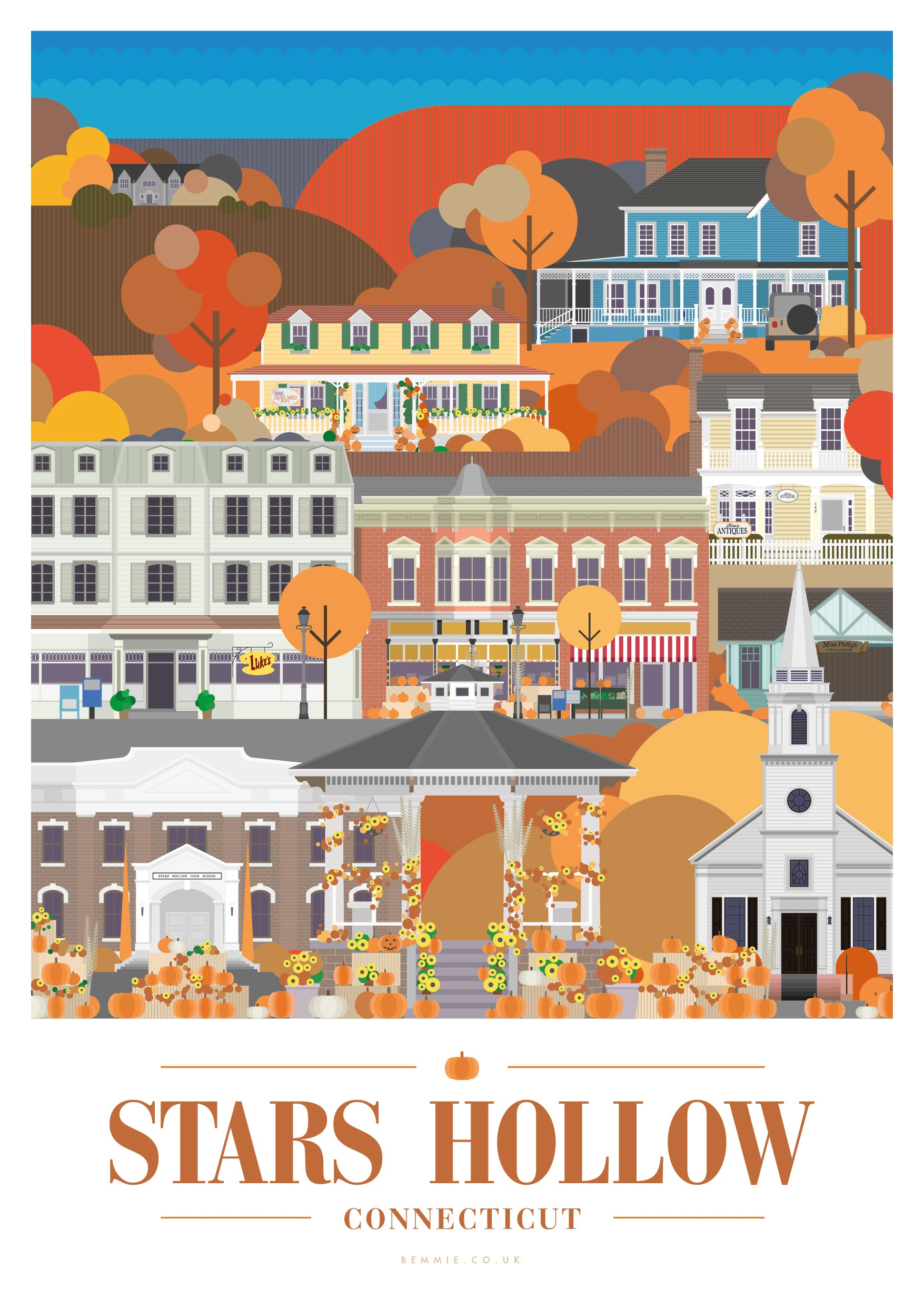 Stars Hollow Print - Inspired by the Gilmore Girls (Autumn Festival) - BemmiesBazaar