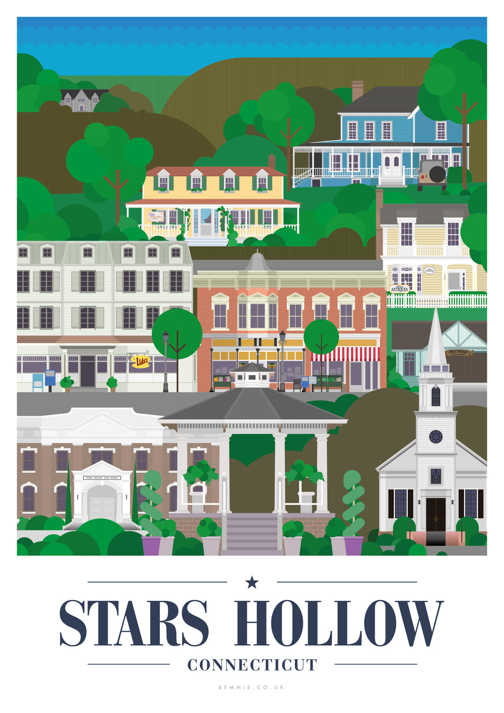 Stars Hollow Print - Inspired by the Gilmore Girls - BemmiesBazaar