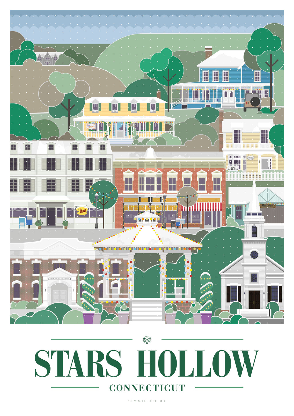 Stars Hollow Print - Inspired by the Gilmore Girls (Winter) - BemmiesBazaar