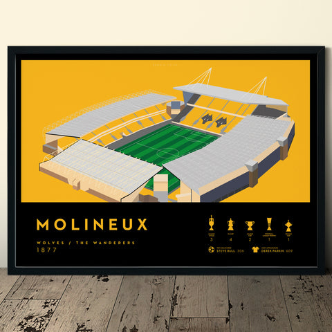 Wolverhampton Wanderers Wolves FC Molineux stadium football print poster artwork soccer