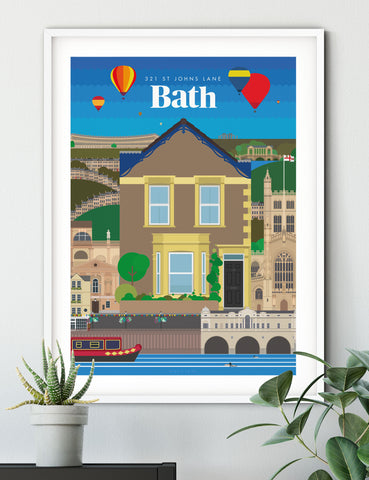 Personalised custom Bath house print