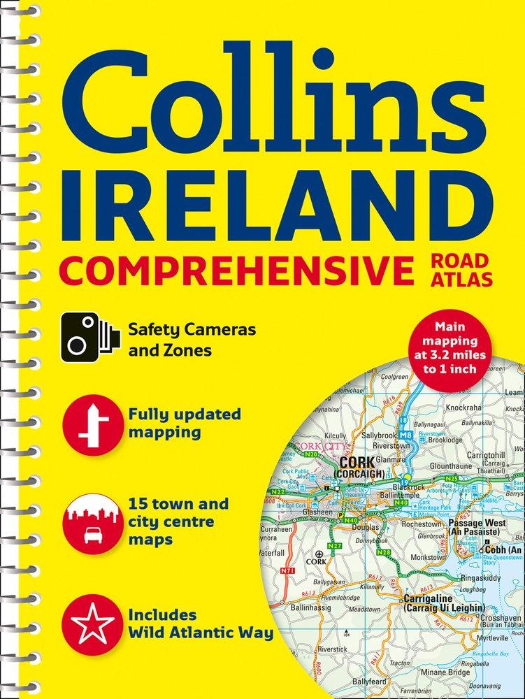 Front cover of the Comprehensive Road Atlas Ireland - Collins Spiral Bound 2018