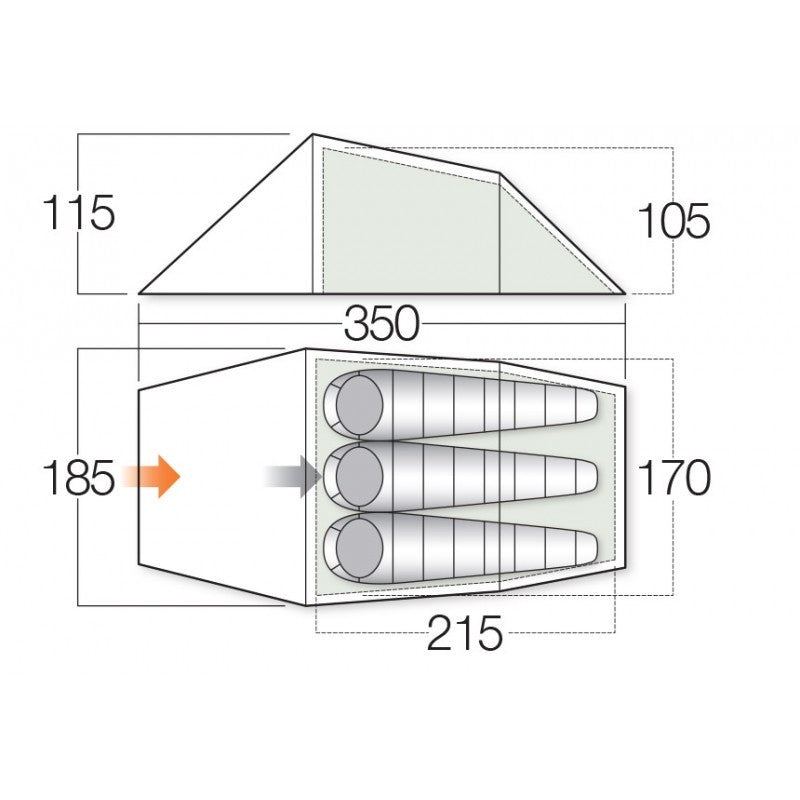 Layout view of 3 person hiking tent