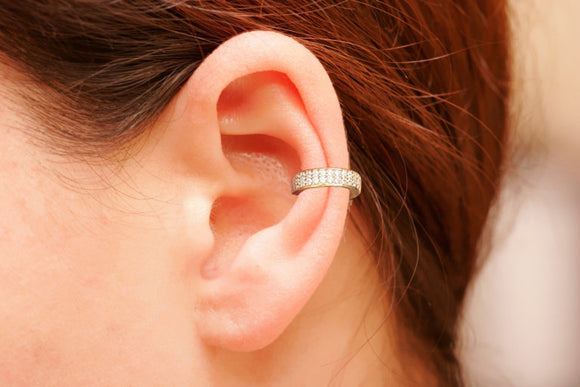 Sterling Silver Ear Cuff, CZ Pave Ear Cuff, 18K Gold Vermeil, Non Pierced Ear Cuff, Ear Wrap, Double Row CZ Ear Cuff