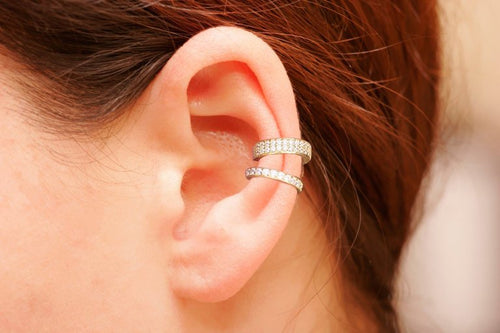 iprecious-creations - 18K Gold Ear Cuff Set , Pave Ear Cuffs , Non Pierced Ear Cuff, Ear Wrap, Set Ear Cuffs , Latest Fashion - Jewelry