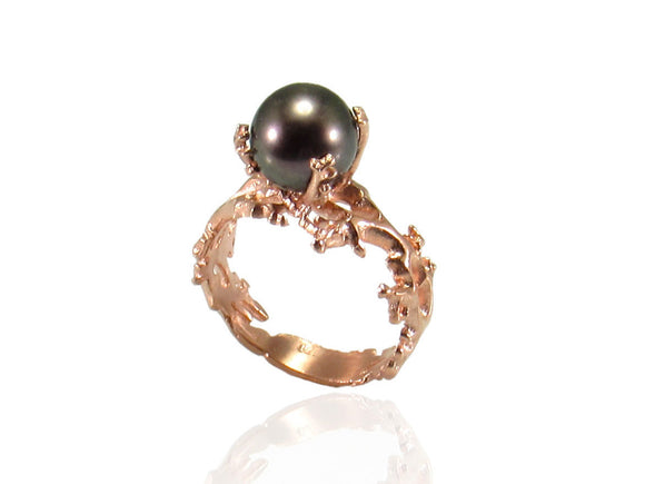 Black Pearl Ring, Gold Pearl Ring, Black Pearl Engagement Ring, Gold Engagement Ring, Anniversary Ring, Engagement Ring, Coral Ring