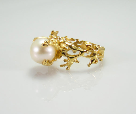 iprecious-creations - White Pearl Ring, Gold Pearl Ring, White Pearl Engagement Ring, Gold Engagement Ring, Anniversary Ring, Engagement Ring, Coral Ring -