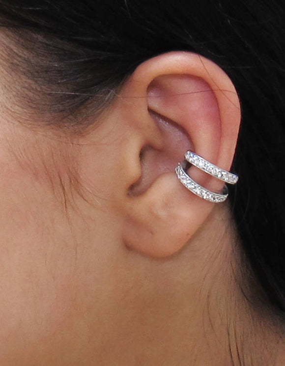 Double Cuff , CZ Pave Ear Cuff, Ear Wrap Earrings, Boho Jewelry, Non Pierced Ear Cuff, Ear Wrap, Double Row CZ, Silver Ear Cuff