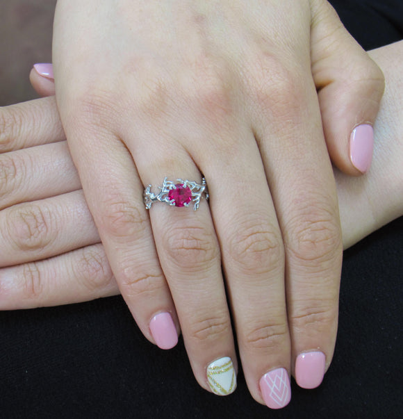 Coral Ruby Ring, Gold Ruby Ring, Ruby Engagement Ring, Gold Engagement Ring, Anniversary Ring, Engagement Ring, Coral Ring - iPrecious Creations
