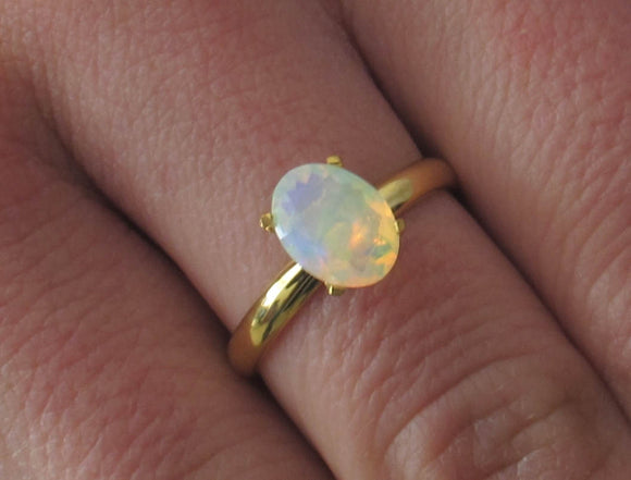 Fire Opal Ring, Rainbow Opal Ring, Fire Opal Engagement Ring, White Opal Ring, Ethiopian Opal Ring, Rainbow Gemstone, Welo Opal