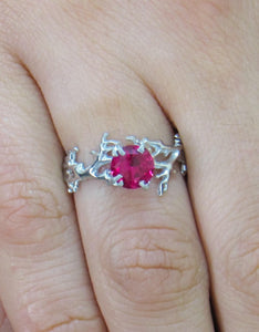 iprecious-creations - Coral Ruby Ring, Gold Ruby Ring, Ruby Engagement Ring, Gold Engagement Ring, Anniversary Ring, Engagement Ring, Coral Ring - Jewelry