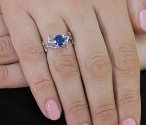 iprecious-creations - Sapphire Ring, Gold Sapphire Ring, Sapphire Engagement Ring, Gold Engagement Ring, Anniversary Ring, Engagement Ring, Coral Ring, Ocean Blue -