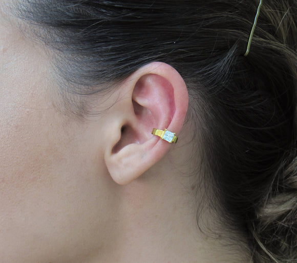18K Gold Ear Cuff with Princess Cut CZ, Non Pierced Ear Cuff, Ear Wrap, Ear Climber, Sterling Silver Ear Cuff - iPrecious Creations