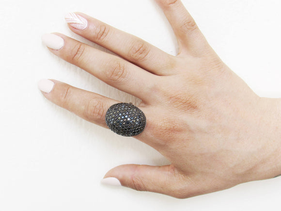 Limited Edition Sterling Silver Ring In Platinum Plating, Armadillo Ring, Pave Ring, High Fashion Ring