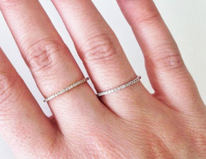 14K Solid Gold Eternity Ring, Thin Eternity Ring, Crystal Band, CZ Gold Ring, Engagement Ring, Gold Stacking Ring, Eternity Band