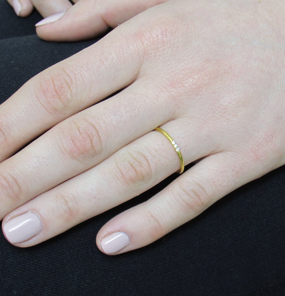 iprecious-creations - Minimalist Diamond Ring, 14k Solid Gold Diamond Band, 3 Diamond Band, Gold Diamond Ring, Thin Diamond Ring, Knuckle Ring, Diamond Band - Jewelry