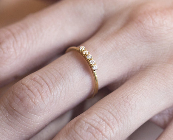 Diamond Wedding Ring, Engagement Ring, Diamonds Gold Ring, Gold Stacking Ring, 5 Diamonds Ring, White Diamonds Ring, Thin Ring