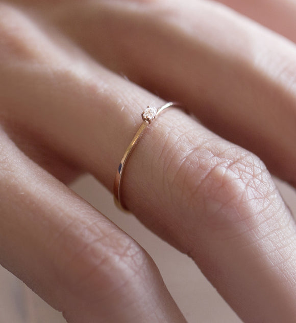 iprecious-creations - Thin Gold Ring, Gold Crystal Ring, Engagement Ring, Gold Stacking Ring, Single Stone Ring, Dainty Gold Ring, Solid Gold Ring -
