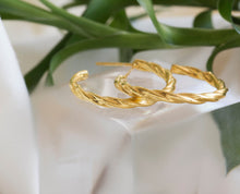 iprecious-creations - 18K Gold Filled Hoop Earrings 100% Handmade in Sterling Silver with Twisted Design - Jewelry