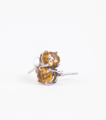 iprecious-creations - Citrine Earrings, Citrine Stud Earrings, 3.00 Carat Concave Oval Cut Citrine Jewelry, November Birthstone,  Natural Citrine - Earrings