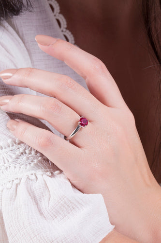 iprecious-creations - Ruby Engagement Ring -  Classic Style Ring - Wedding Ring - Round Cut Solitaire Ring - 1.25 Carat Ruby - Sterling Silver - Ruby Ring -