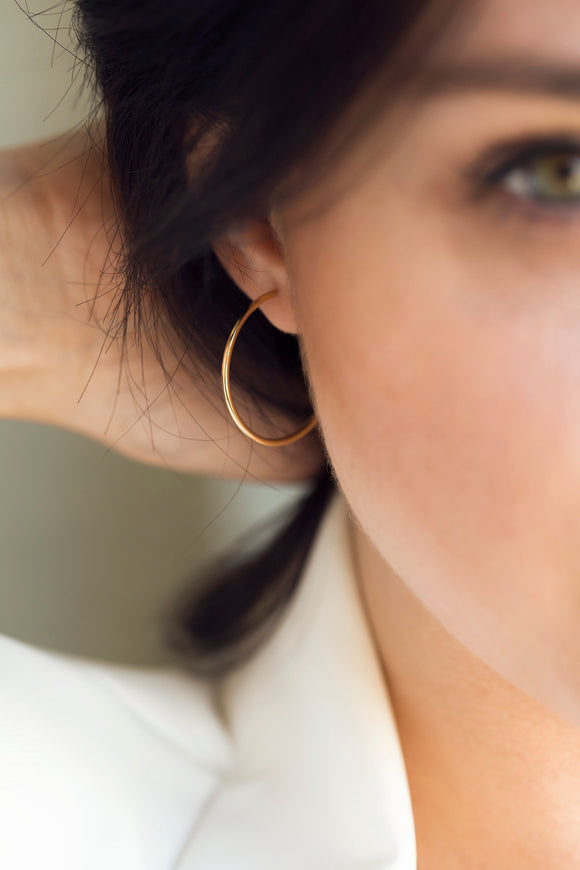 iprecious-creations - Real 14K Gold Hoop Earrings 100% Handmade , Dainty Hoop Earrings , Minimalist Gold Hoops , Gold Hoop Earrings Medium Sized - Earrings
