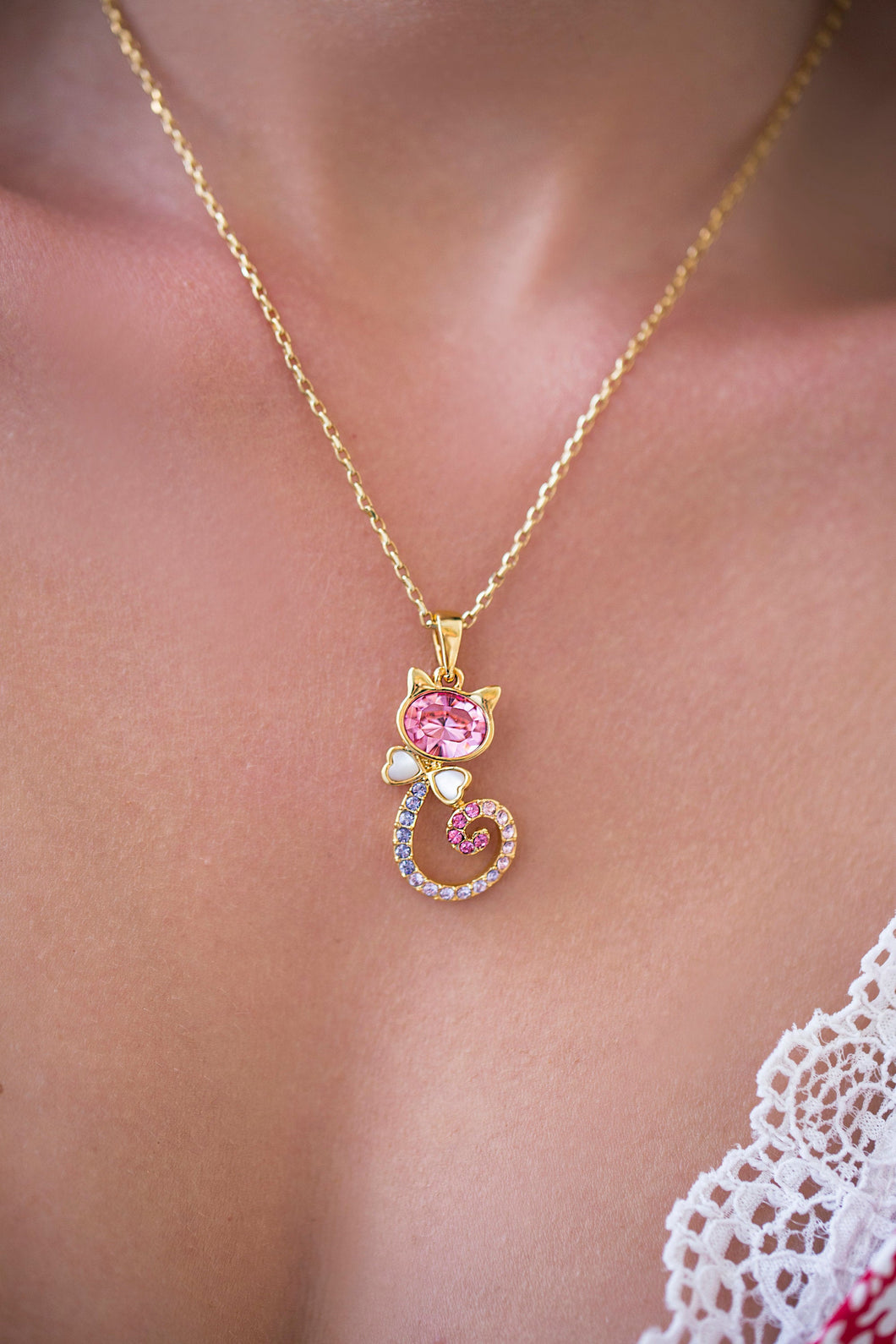 iprecious-creations - Cute Cat 18K  Gold Necklace , Gold Animal Necklace, Crystal Cat Pendant , Gold Pendant , Layering Necklace, Crystal Cat Pendant - Necklace