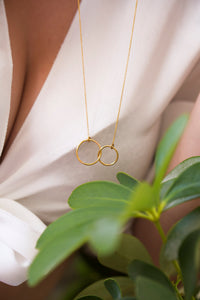iprecious-creations - Linked Rings Necklace, Double Circle Charm, Gold Linked Rings, Infinity Necklace, Circle Necklace, Interlocking Circles, Family Necklace - Necklace