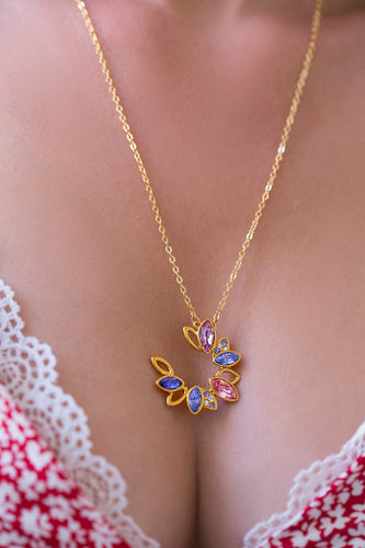 iprecious-creations - Cute 18K Gold Necklace , Gold Geometric Necklace, Crystal Gold Pendant , Gold Pendant , Layering Necklace, Crystal Pendant - Necklace