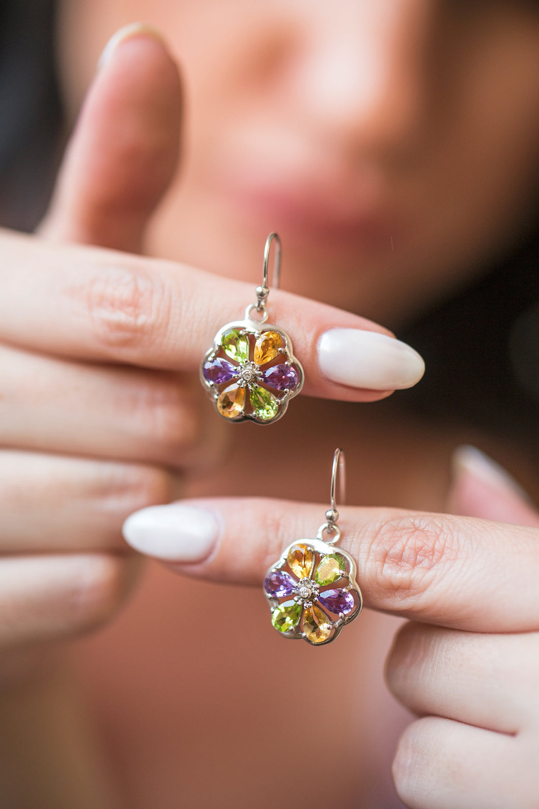 iprecious-creations - Genuine Gemstones Earrings, Amethyst Earrings, Citrine Earrings, Peridot Earrings, Silver Earrings, Drop Earrings - Earrings