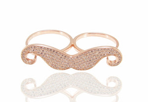 iprecious-creations - Sterling Silver 18K Rose Gold Vermeil Mustache Double Finger Ring -