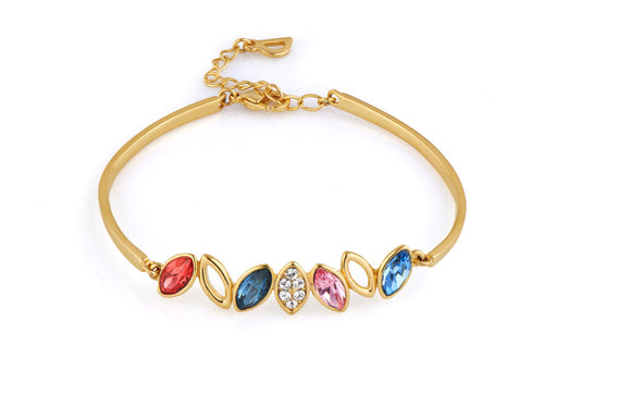Gold Bracelet With Authentic Swarovski Elements Crystals in 18K Gold Vermeil